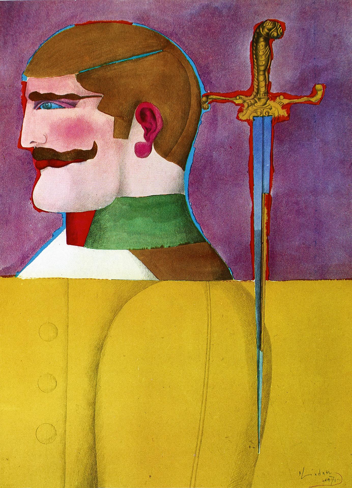 Man with Sword, 1971 watercolors grand format